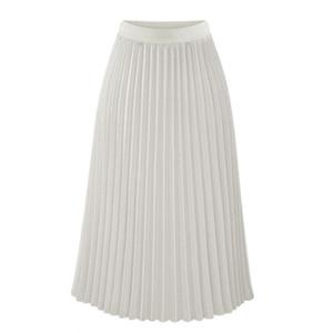 Image 3 - ARiby Women Long Pleated Skirt faldas mujer moda 2019 New Summer Chiffon Sweet Solid Pleated Skirt Elastic Waist Empire Skirt