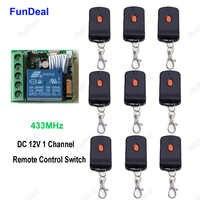 433 MHz Bloqueo de puerta bloqueo vehículo sistema de entrada sin llave DC 12V 1Ch RF receptor de interruptor de control remoto inalámbrico y transmisores 9 Uds
