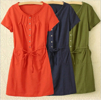 Large Size Dress Summer Style Women Casual Clothing Loose Short Sleeve Cotton Linen Eleastic Waist Dress