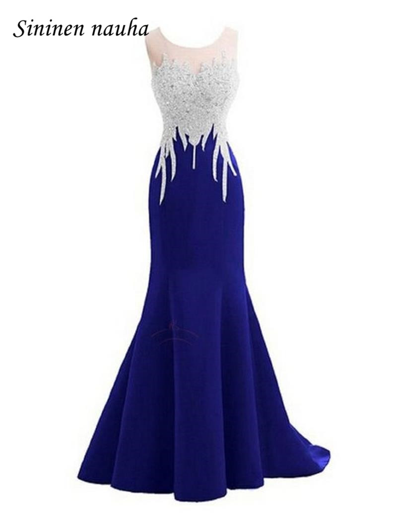 Royal Blue Long Evening Formal Dresses Scoop Bow Beaded Mermaid Plus Size Prom Dress Vestidos De Festa Robe De Soiree 220