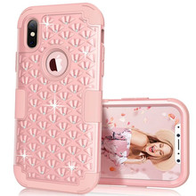 Hybrid Armor Case for iphone X 8 Plus Soft Cover Diamond 3 in 1 Silicone Shockproof Phone Cases for iphone 8 8+ Heavy Duty Cover