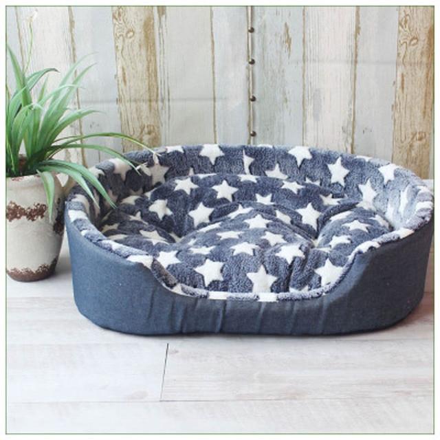 Luxe Pluche  Hondenbed kleur blauw met witte sterren 1