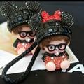Minnie Mouse Monchichi Crystals Key Chain Sleutelhanger Strass Keychaineyring Kiki Pom Pom Women Bag Charm Porte Clef M171