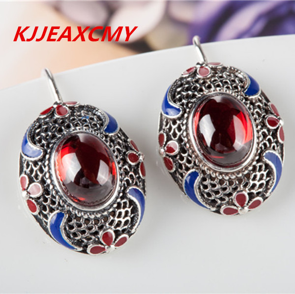 KJJEAXCMY Thailand and the pure manual S925 pure silver Thai silver agate garnet female money eardrop restoring ancient ways s925 pure silver personality female models new beeswax