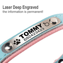 FLOWGOGO Personalized Engraved Dog Cat Collar Braided Custom Leather Puppy Cat Pet Collars ID Tag For Small Medium Dogs
