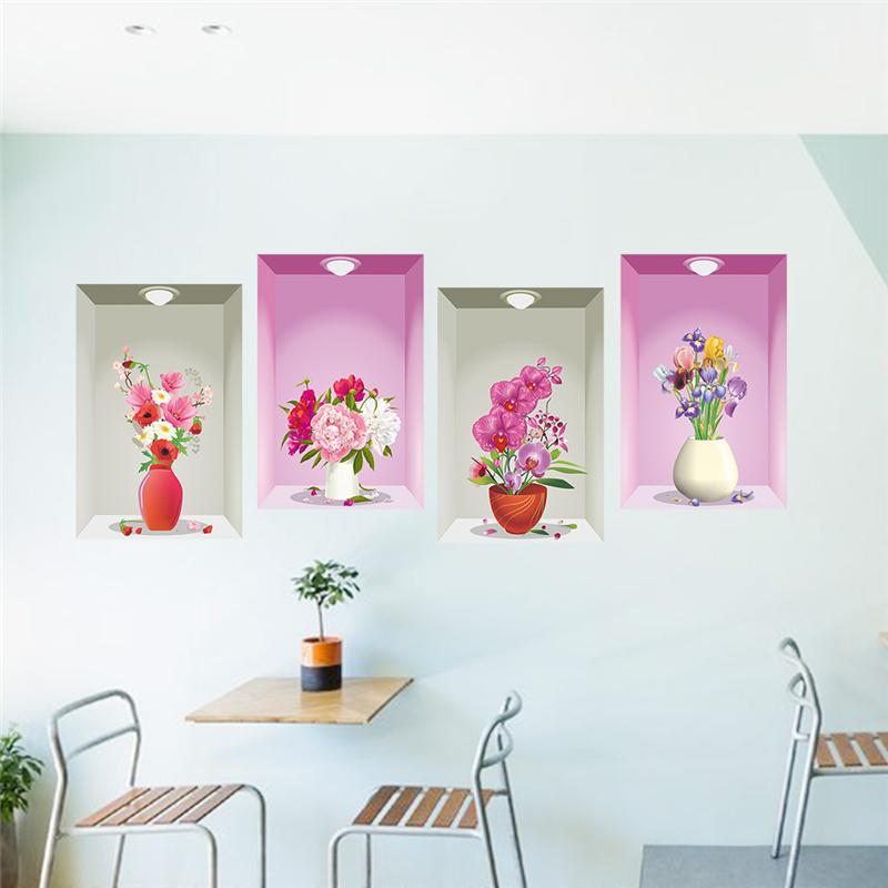 Diy Wall Flowers: 3d Vases Flowers Wall Decals Home Decorative Stickers