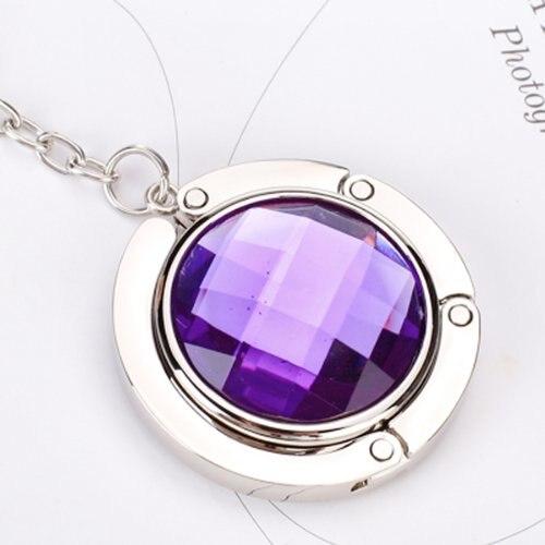 EWS!Round Rhinestone Purse Handbag Hanger Hook Folding Hanger Holder w/ Keychain(Silvery and Purple)