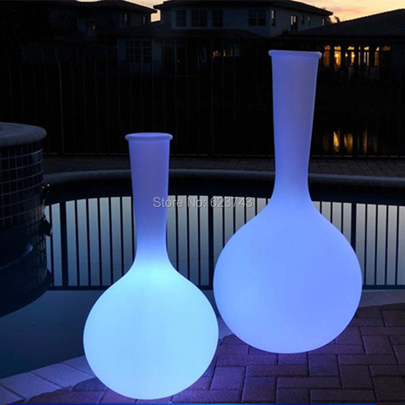 Classic Outdoor waterproof glowing LED Floor lamp remote control led floor big luminous rechargeable flower pot floor boughpot in LED Outdoor Wall Lamps from Lights Lighting