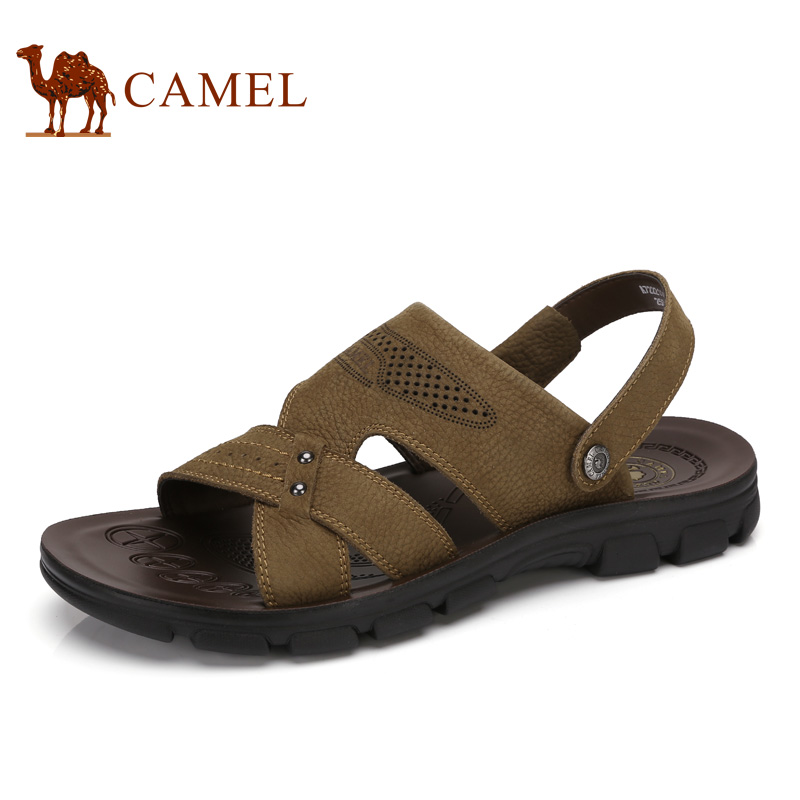 Camel Mens Shoes 2018 Summer New Beach Sandals Mens Breathable Antiskid Cushioning Leather Exposed Toe Sandals A722211462