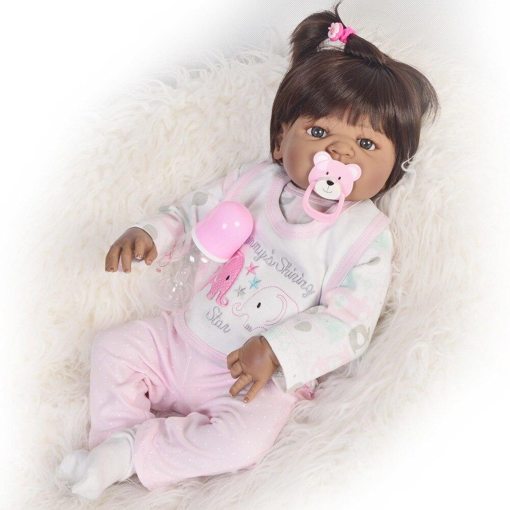 KEIUMI Lebensechte 23 Inch Reborn Puppen 57 cm Volle Silikon Realistische Newborn Mädchen Baby Puppe Spielzeug Für Kinder Weihnachten Geschenk schwarz Haut-in Puppen aus Spielzeug und Hobbys bei  Gruppe 3