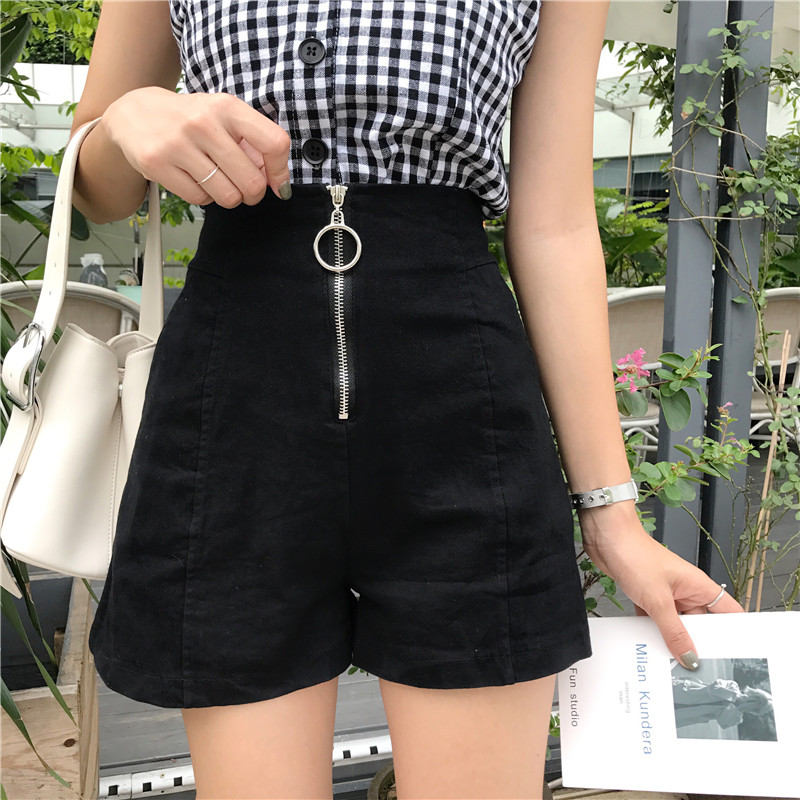 2019 Women Slim Shorts Wide Leg Korean High Waist Front Zipper Shorts With Pockets Black White Elegant Work Casual Street Shorts