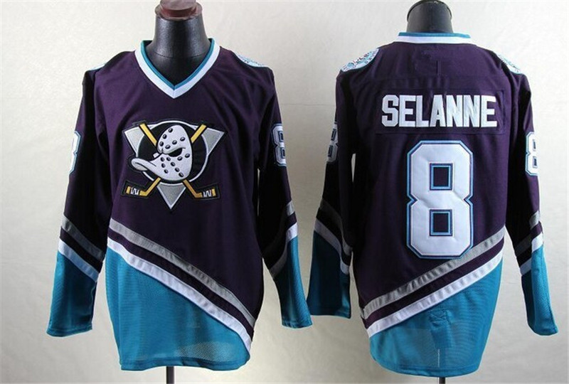Ediwallen Anaheim Mighty Ducks Hockey Sur Glace Maillots Pas Cher 8 Teemu Selanne Jersey Vert Rouge Blanc Violet Respirant Livraison Gratuite