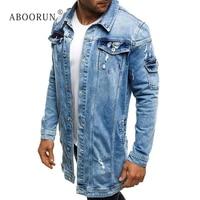 ABOORUN Hi Street Men's Long Denim Jacket Distressed Broken Hole Jean Jacket Spring Autumn Coat for Male x2323