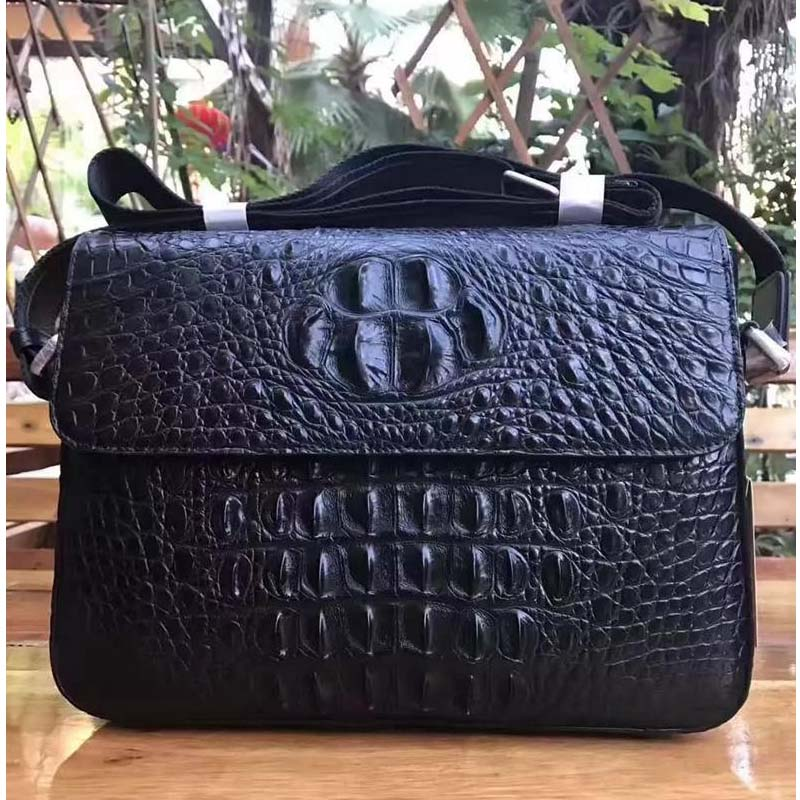 yongliang Men's alligator skin, big crocodile skin single shoulder men handbag, oblique satchel, genuine leather men bag yongliang 2017 new crocodile leather belly single shoulder men handbag crocodile leather crossbody fashion all match men bag