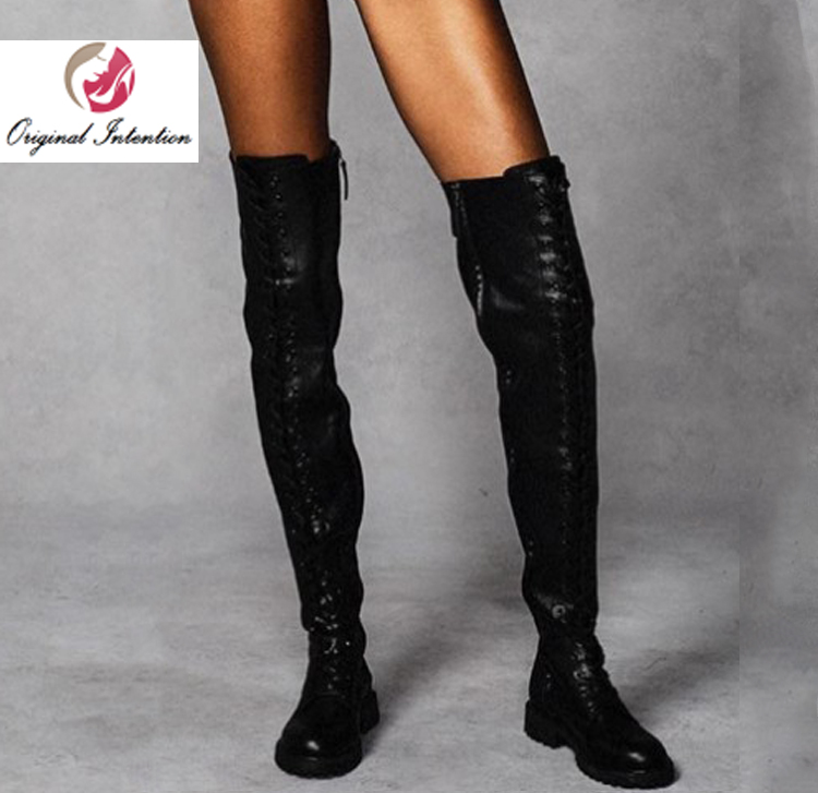 Original Intention Fashion Winter Women Thigh High Boots Over-the-knee Low Heels Round Toe Botas Mujer Black Shoes Large Size 15Original Intention Fashion Winter Women Thigh High Boots Over-the-knee Low Heels Round Toe Botas Mujer Black Shoes Large Size 15
