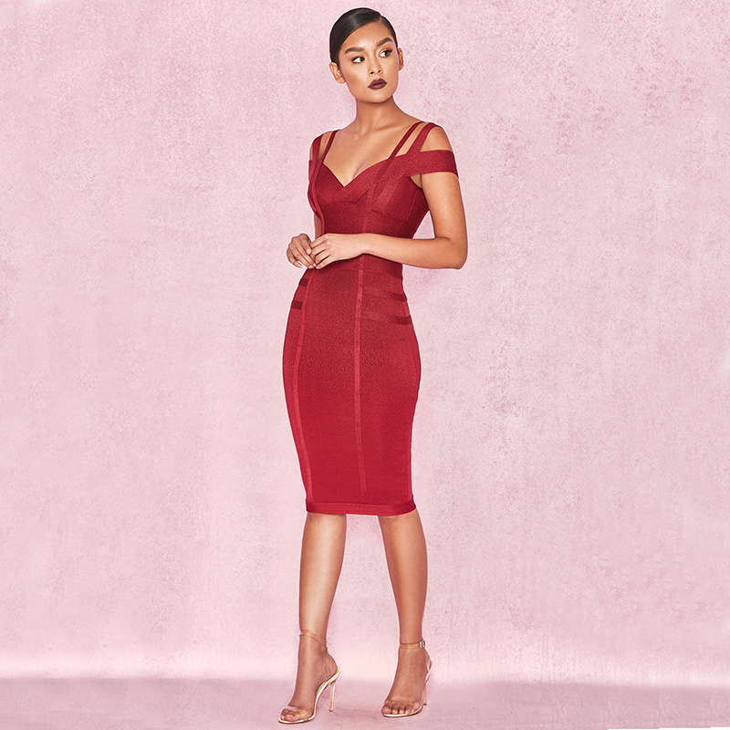 Female Off Shoulder Backless Midi Dresses Sexy Fashion V Neck Party Wear Red Wine Knee Length Dress Christmas Vestidos Hot - 2