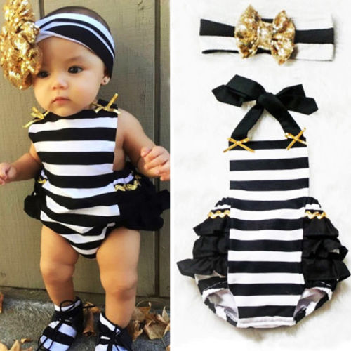 Cute Newborn Baby Girls Romper Cotton  Striped Ruffle Romper Sunsuit Outfits+headband Set -0-24m