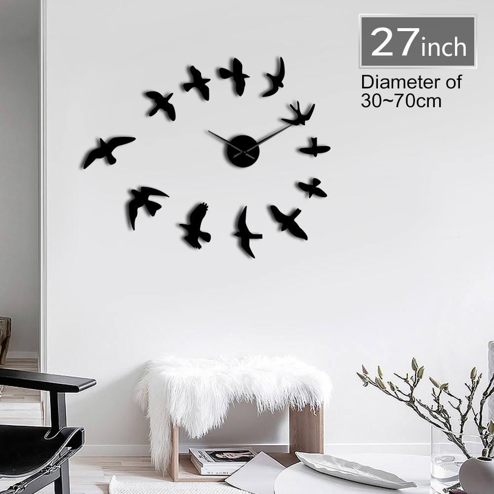 1Piece 3D Fly Birds Mirror Large Wall Clock Sticker Animal Frameless DIY Giant Time Clock Huge Modern Design Clock Watch Decor