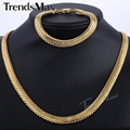 Trendsmax Snake Herringbone Foxtail Yellow Rose Gold Filled Necklace Bracelet Womens Mens Chain Set Jewelry GS257