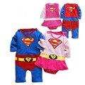 2016 весной новые мальчиков девочек супермен ползунки одежда с длинными рукавами ползунки плащ рождения мальчика мужской костюм ансамбль