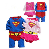 2016 Spring New Baby Boys Girls Superman Romper Baby Clothes Long Sleeve Romper Cloak New Born
