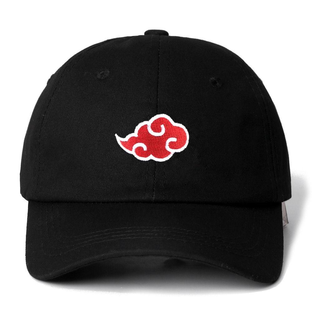Dropshipping Japanese Akatsuki Logo Anime Naruto Dad Hat Uchiha Family Logo Embroidery Baseball Caps Black Snapback Hats