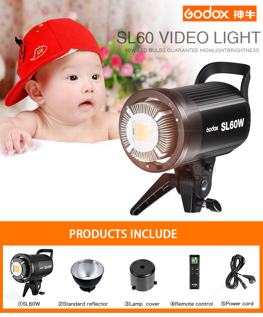 New listing Godox SL60W White Version 5600K Studio Continuous LED Video Light Lamp Bowens Mount + Remote Control godox professional led video light led500w white version 5600k new arrival free shipping
