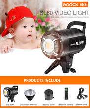 Nuevo anuncio Godox SL60W Versión en Blanco 5600 K Luz de Vídeo LED Lámpara de Estudio Continuo Bowens Monte + Control Remoto