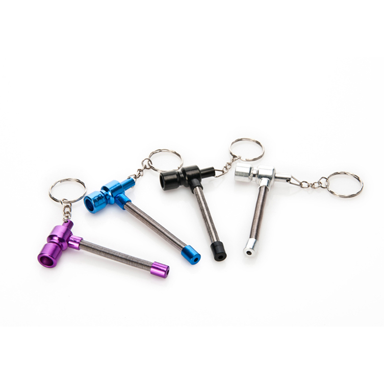 4Pcs/lot Metal Key Chain Spring Tobacco Pipe Mini Cigarette Holder - Household Merchandises - Photo 4