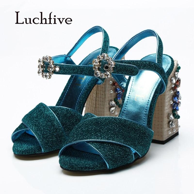 2019 Bling Bling Gladiator Sandals Women Open Toe Rhinestone Diamond Flower 11cm 5.5CM High Heel Shoes Woman Wedding Shoes