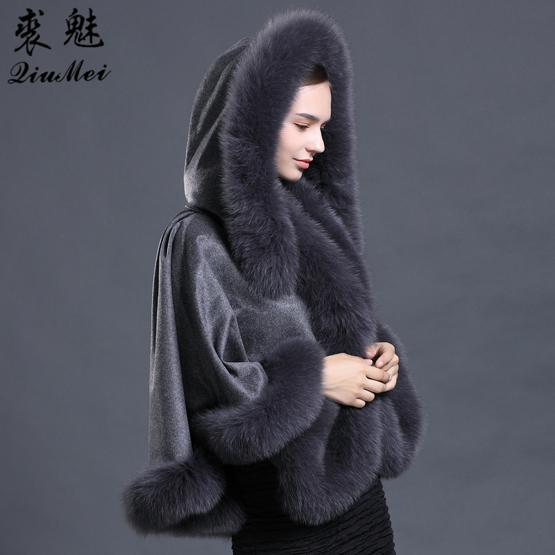 Women's Real Fur Shawls Wool Blends Fox Fur Collar Hooded Pashmina Coat Cape New 2018 Women Wool Real Fox Fur Poncho and Capes