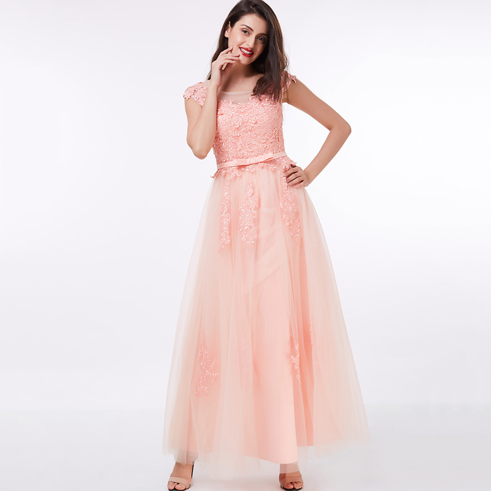 Dressv Pink Long Evening Dress Cheap Scoop Neck Appliques Wedding Party Formal Dress A Line Evening Dresses