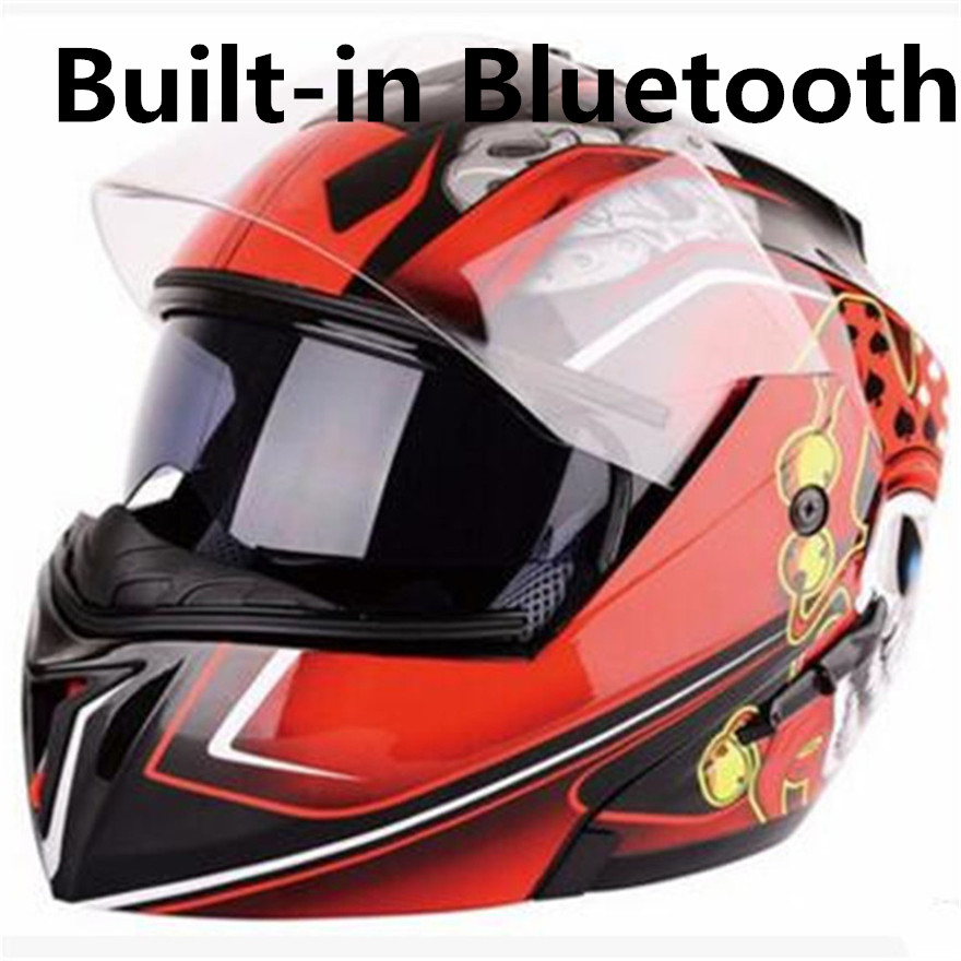 Bluetooth professional Motorcycle helmet flip up face helmet cross helmet 7 color available DOT approved