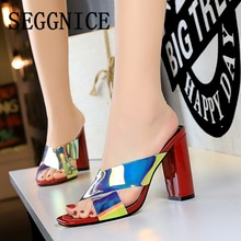 2019 Summer Sandals Brand Luxury Bling Women High Heel Slippers Outdoor Open Toe Ladies Fashion Sexy Woman Black Red Shoes bling bling high heel crystal decked slide sandal gorgeous glittering slippers summer women shoes sexy black outside slippers