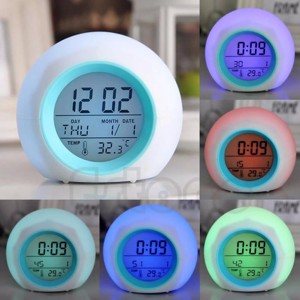 Digital LED Clock Alarm Glowing Hot 7 Color Change Thermometer With Nature Sound W30