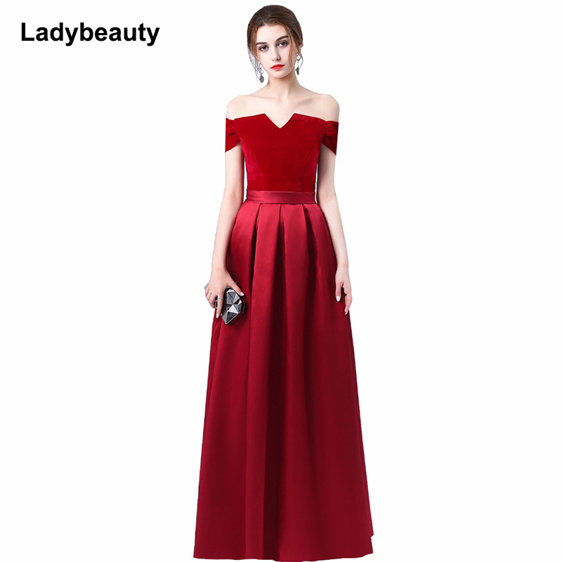 Ladybeauty 2018 New Mother's   dress   Long Red wine   Evening     dress   formal party prom   dress   vestidos de festa free shipping