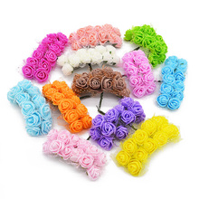 12/36/72/144pcs Mini Foam Rose Artificial Silk Flowers for Wedding Car Decoration DIY Wreath Bridal Bouquet Fake Flower75z
