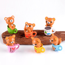 6pc Coffee Cup Bear Kawaii animals model miniature garden Fi