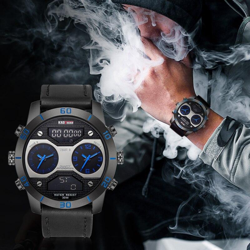 الطلب الكبير KADEMAN الرجال الساعات أعلى الفاخرة العلامة التجارية اثنين من المناطق الزمنية الكوارتز الرقمية التناظرية للماء المعصم Relogio Masculino 158-في ساعات رقمية من ساعات اليد على  مجموعة 2