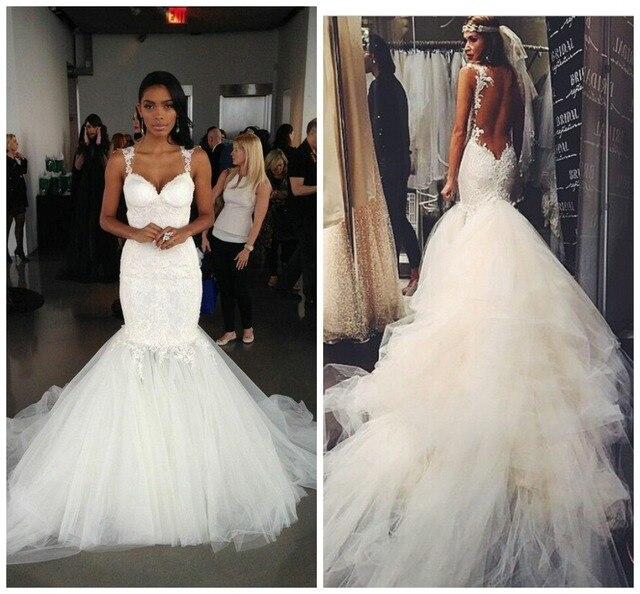 2015 tribunal tren de correas espaguetis sirena vestidos de novia de