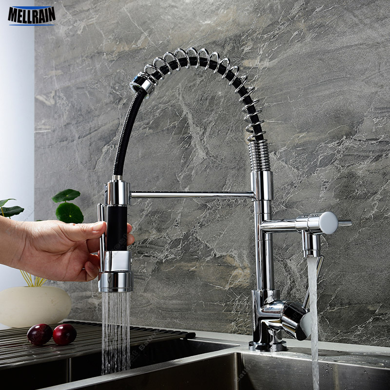 Brass Chrome Plated Pull Out Kitchen Faucet Single Hole Deck Mounted Hot & Cold Sink Mixer Double Function Two Water Tap black chrome kitchen faucet pull out sink faucets mixer cold and hot kitchen tap single hole water tap torneira