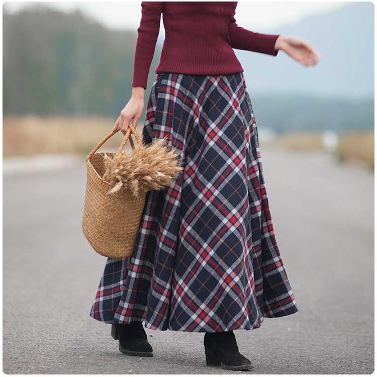 b5d1c5cc20e ... 2018 Весна Новая Женская длинная юбка осень зима шерстяная юбка  Классическая винтажная стильная клетчатая Толстая теплая ...