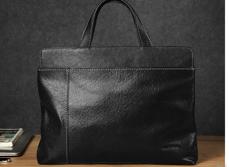 Elegant Black Men Genuine Leather Briefcases Male High Capacity Laptop Business Bags Totes Travel Soft Cowhide Handbags D833
