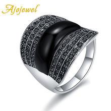 Кольцо женское и мужское с черным камнем геометрической формы