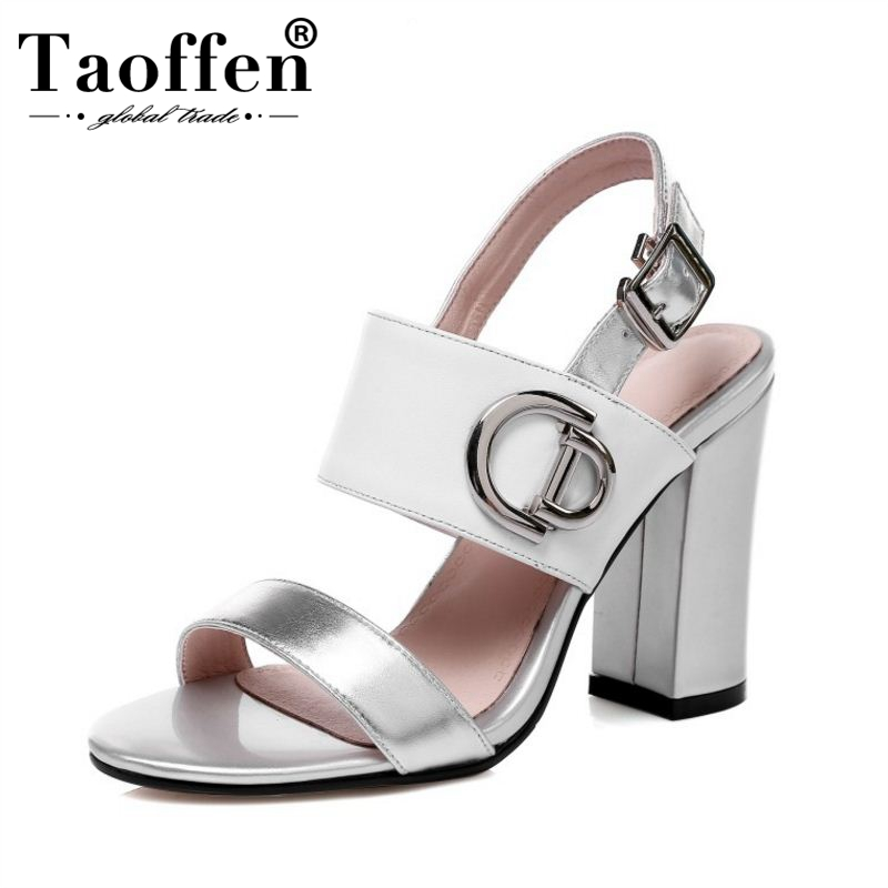 TAOFFEN Real Leather High Heel Sandals For Women Open Toe Buckle Strap Thick Heel Sandals Summer Club Shoes Women Size 34-43TAOFFEN Real Leather High Heel Sandals For Women Open Toe Buckle Strap Thick Heel Sandals Summer Club Shoes Women Size 34-43