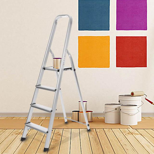 Fine Ikayaa Us Stock Folding Aluminum Ladders 4 Step Ladder With Machost Co Dining Chair Design Ideas Machostcouk
