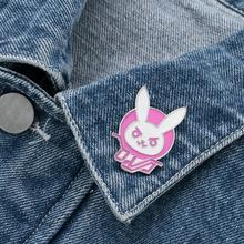 overwatch game dva  Rabbit Bunny Logo Metal Pin,Pink Diva Bunny Hard Enamel  Brooch for Cosplay Prop Costume Accessory Jewelry