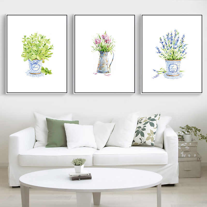 Modern abstract plants canvas painting small fresh picture wall art print poster painting wall decor