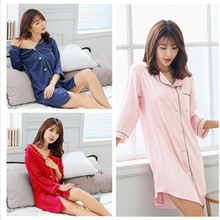 New summer High quality brand sexy silk women nightgown natural silky pijama for nightshirts sleepdress womens