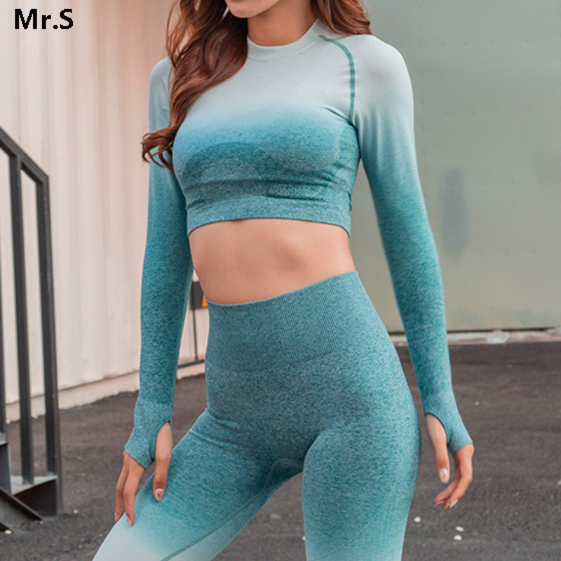Ombre Crop Top Yoga Shirts for Women Seamless Long Sleeve Workout Tops Gym Shirts with Thumb Hole Fitness Crop Top Camisas Mujer crop graffiti tee